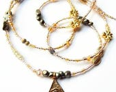 Egyptian Waist Beads, Gleaming Pyramid Pyrite Belly Chain, African Waist Beads, Pyramid Belly Chain, African Accessories,
