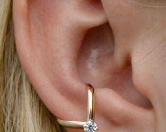 Chevron w/CZ Ear Cuff - Ear Cuff - Ear Wrap - Earcuff - Diamond Ear Cuff - No Piercing - Gold Ear Cuff - Minimalist Ear Cuff - gift for her