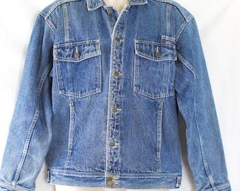 Vintage Jean Denim Jacket Mens / Coca Cola  / Coke Blue Trucker No Size Tag See Measurements Trucker Style Mens Jacket