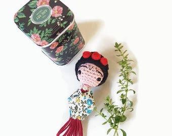 FRIDA KAHLO  necklace, Frida mini amigurumi doll long necklace, Frida Pendant,unique design necklace, gift for her, anniversary cute gift