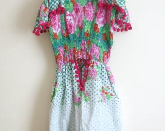 Reworked Vintage Pink, Green and White Floral and Pom Pom Playsuit, Romper.