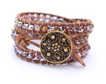 Boho Leather Bracelet Beach Bracelet Friendship Bracelet Beaded Bracelet Leather Wrap Bracelet Crystal Bohemian Bracelet Gift for Her