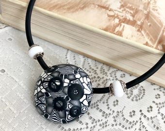 Geometric  black white statement polymer clay choker necklace - Women Jewelry  - Eastern necklace - Fashion Jewelry - Chunky trendy necklace
