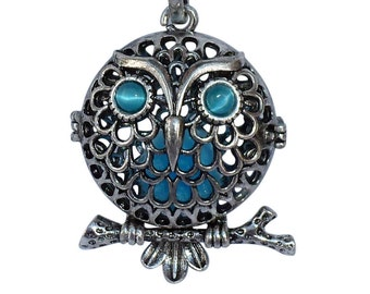 YOur perSOnal STYlish Essential oil necklace diffuser Steampunk Big Blue eyes owl d1 0