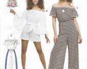 Womens Pull-On Off-the-Shoulder Rompers or Jumpsuits Elastic Waist & Sash McCalls Sewing Pattern M7609 Size 4 6 8 10 12 14 Bust 29 1/2 to 36
