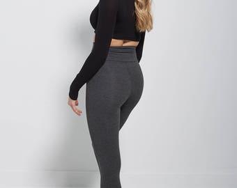 Grey Bamboo Leggings, Bamboo Yoga Leggings, Plus Size Leggings, Organic Yoga Leggings, High Waisted Leggings, yoga pants plus size
