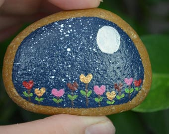 Painted Rock, Desktop Decor, Night Garden, Flower Rock, Hand Painted Rock Art, Decor Art, Paperweight, Meditation Stone, Back to School Gift