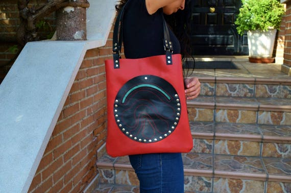 Leather tote,red tote bag,studs tote,red leather tote,leather purse bag,black totes,red leather bags,leather totes,red totes,laptop bag