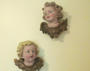 Vintage Gorgeous Angels Cherubs Heads Pair Wall Hanging Hand Painted