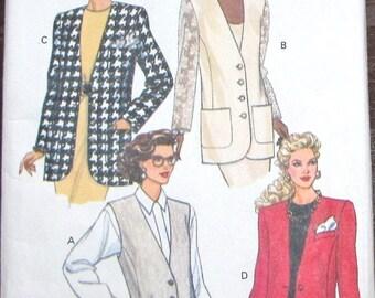 Vintage Easy Sewing Pattern Butterick 6492 Buttoned Long Line Vest, Jacket, Womens Misses Size 12 14 16 Bust 34 36 38 Uncut Factory Folds