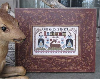 Pre-order 2018 Nashville Market KATHY BARRICK Courage Deer Heart counted cross stitch patterns at cottageneedle.com Mother's Day Hart
