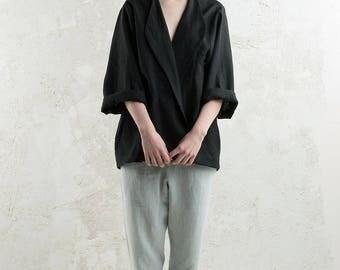 Black linen jacket, Black cardigan, Long linen coat, Long sleeves top for women, Loose fit jacket, Linen women's clothing by LHI