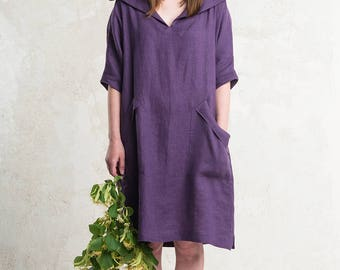 Linen dress with sleeves, Custom color natural dress with pockets, Linen women's clothing by LHI