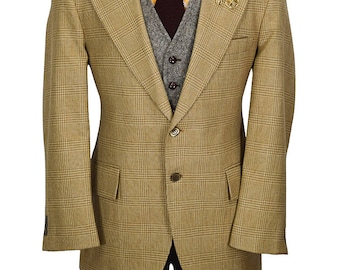 40 Short Brown and Tan Preppy Houndstooth Wool Blazer