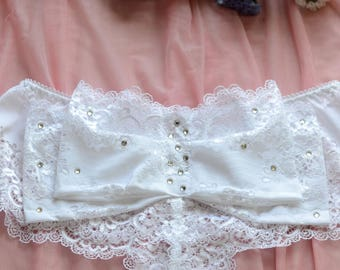 Clothing  Women's Clothing  Lingerie  Panties The Fashion Lace  Bridal Crystals Bow Panties in White Lace  SAMPLE SALE