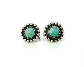 Navajo Flower Earrings. Blue Green Turquoise Centers, Sterling Silver, Screw Backs  Wire Rope. Signed. Vintage Native American Jewelry