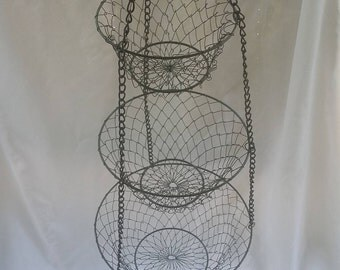 Rustic Three Tiered Hanging Wire Fruit Display Basket