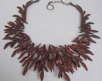Racy Red Copper Funky and Spiky Leaf Collar Bib Necklace