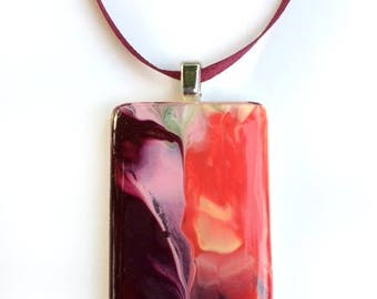 """Game tile Pendant """"The caves at Sunset"""""""