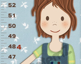 Boys Growth Chart  , Personalized , Metric or Feet and Inches