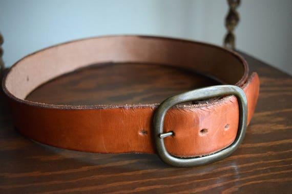 Wide Vintage Brown Leather Belt ~ Boho, Folk, Natural