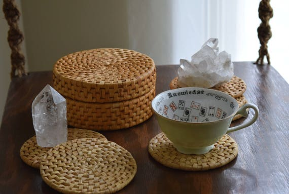 Set of (6) Vintage Woven Rattan Coffee Coasters & Basket - Boho, Natural, Folk, Eclectic