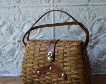 1960's Brown Rattan And Leather Basket Purse