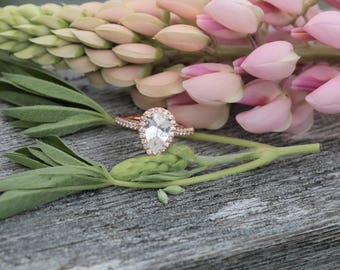 Pear Shape White Sapphire 14k Rose Gold Diamond Halo Ring