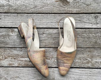 8 N | 1980's Vintage Slingback Mules by  Mr. Seymour in a Metallic Pastel Print