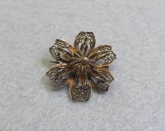 Vintage Wirework Flower Brooch