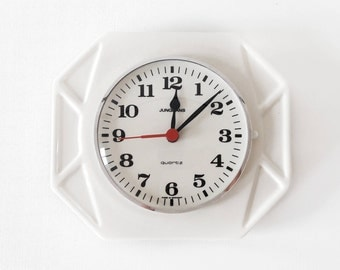 Vintage White Ceramic Wall Clock from Junghans Made in Germany