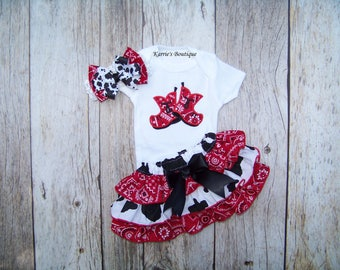 Cowgirl Ruffle Outfit / Onesie + Ruffle Bloomer + Headband / Western / Cow Print / Red Bandana / Infant / Baby / Girl / Toddler / Boutique