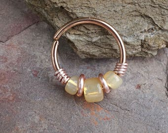 Pale Yellow Beaded Rose Gold Beaded Nose Hoop Nose Ring Cartilage Hoop Tragus Hoop