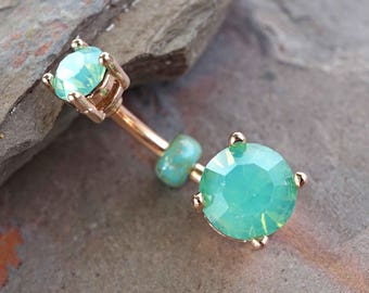 Mint Green 14kt Rose Gold Prong Set Belly Button Ring