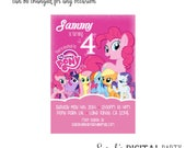 My Little Pony Invitation 4x6 or 5x7 digital you print your own- Design 196
