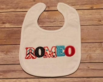Cute Baby Bib, ROMEO, Baby Shower Gift, New Baby Gift, Adoption Gift, Boutique Bib, Welcome Baby Gift, Appliqued Bib