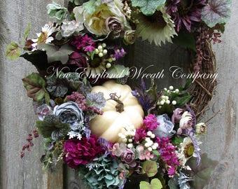 Fall Wreath, Autumn Wreath, Tuscany Wreath, XL Luxury Wreath, Fall Victorian Wreath, Sunflower Wreath, Pumpkin Wreath, Designer Fall Floral