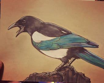 "ORIGINAL Art ""Screech"" - Magpie Bird Animal Copic Marker Sketch Inktober 2017"