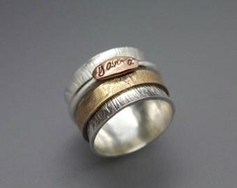 Custom Dog Print Ring, Paw Print Ring, Nose Print Ring, Dog Nose Print, Dog Paw Heart, Spinner Ring, Spinning Ring, Custom Spinner