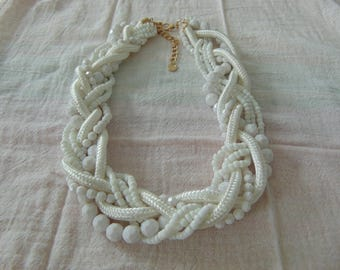 vintage talbots signed white faceted beads cord seed torsade necklace mint unused woven braid