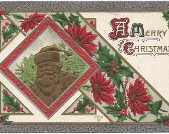 Chocolate Santa Clause Framed in Red Poinsettia and Holly Vintage Postcard Holiday Greeting Card