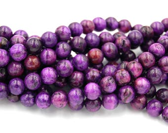 Purple Crazy Lace Agate 8mm round beads -15.75 inch strand
