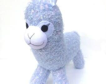 Argyle the Sock Alpaca - blue with pink and white flecks - READY TO SHIP -  Llama