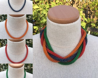 One strand bead crochet necklace with vintage clasp