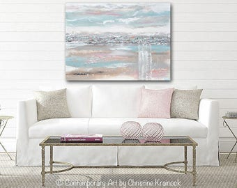 ORIGINAL Art Abstract Painting Blue Grey Rose Pink Wall Art Acrylic Painting Wall Decor Home Decor Modern Art Textured Coastal XL- Christine
