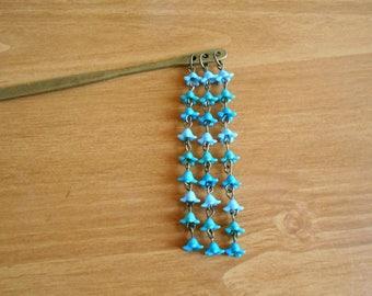 Cascading Petals II - blue, green, and teal flower hair stick, kanzashi shidare inspired beaded metal hairstick