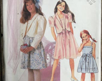 Vintage McCall's 2355 Girls Jacket and Dress Pattern / Girls Dress Pattern Size 7,8,10 Easter Dress / Girls Sundress Pattern
