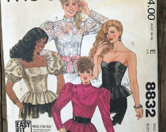 Vintage McCall's 8832 Vintage Sewing Pattern / Brooke Shield Fitted Top Size 10 Circa 1983 UNCUT