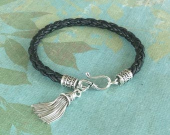 Black Bracelet Braided Leather Sterling Silver Tassel Chic Bohemian Jewelry Black Leather Bracelet Free Shipping