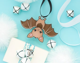 Bat Ornament - Fruit Bat Stocking Stuffer Brown Bat Halloween Decor Bat Christmas Ornament  Upside Down Bat Black Magic Bat Lovers Gift